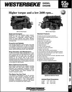 Westerbeke 55D Four Diesel Engine Technical Specifications