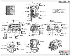 Westerbeke 55D diesel engine with ZF 25M transmission Drawing
