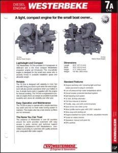 Westerbeke 7A One marine diesel engine Brochure