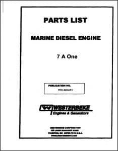 Westerbeke 7A One Marine diesel engine Parts List