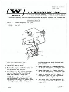 Westerbeke diesel engine Bleeding Procedure Guide