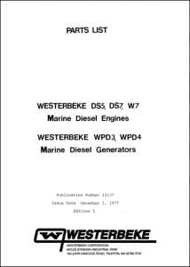 Westerbeke DS5 etc diesel engine Parts List