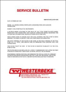 Westerbeke diesel engine Fuel Filter Bulletin 238