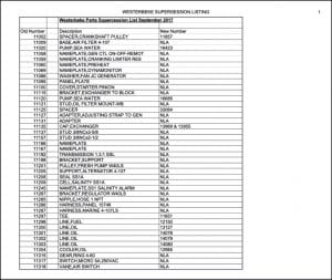 Westerbeke diesel engine Parts Supercession List 2014