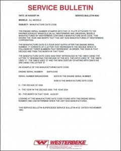 Westerbeke diesel engine Serial Code Bulletin 2004