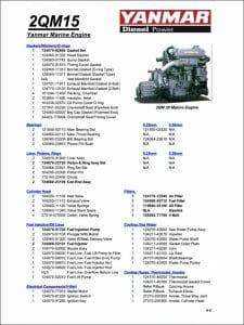 Yanmar 2QM15 marine diesel Parts List