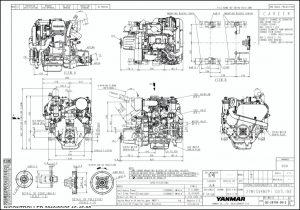 Yanmar 2YM15 diesel engine & Kanzaki KM2P-1 gearbox Drawings