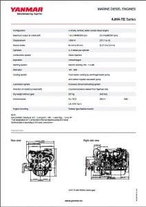 Yanmar 4JH4-TE-LR Diesel Engine Technical Sheet