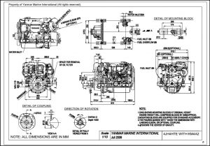 Yanmar 4JH4HTE marine diesel engine with KM4A2 Drawing