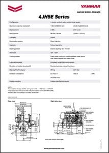 Yanmar 4JH5E marine diesel Specifications Sheet