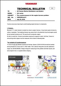 Yanmar 4LV Countermeasure Engine Harness Problem Technical Bulletin