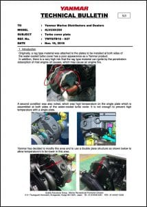 Yanmar 4LV230 Turbo Cover Plate Technical Bulletin