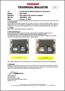 Yanmar 8LV ECU marine diesel engine ECU Cannot Be Updated Technical Bulletin