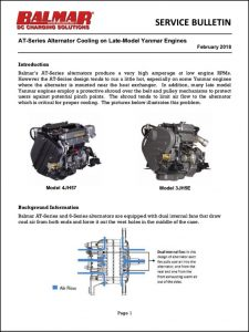 Yanmar AT-Series Alternator Cooling Bulletin 2018