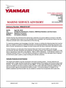Yanmar Saildrive Corrosion Bulletin 2010