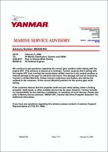 Yanmar Shaft while Sailing Bulletin