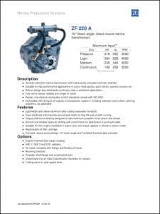 ZF 220 A marine transmission brochure
