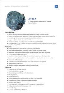 ZF Transmission 80 marine transmission Description