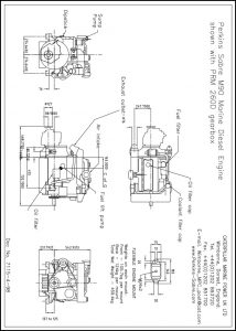 Perkins M90 diesel engine with PRM 260D transmission Drawing