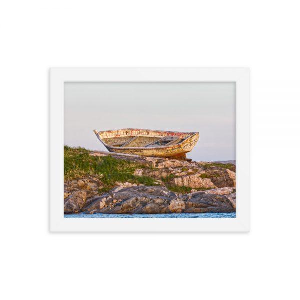 "Framed photograph ""Boat on the Rocks at Battle Harbour, Labrador"" from Marine Diesel Basics"